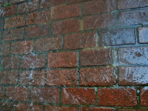 Water Running Over Brick Paving