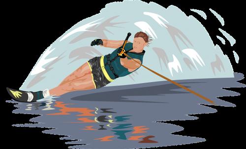 water skiing slalom skier