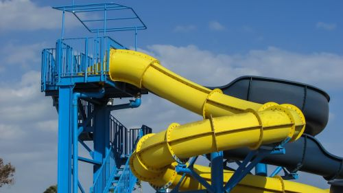 water slide colorful hotel