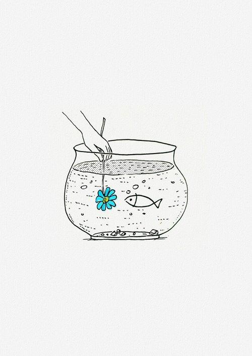 water tank  fish  hands