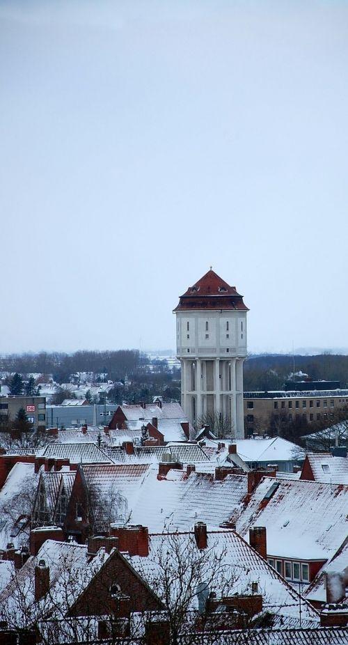 water tower emden winter snow