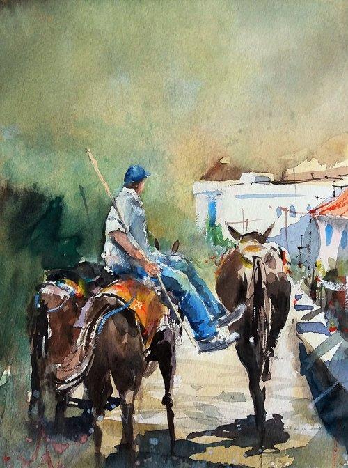 watercolor  greece  donkey