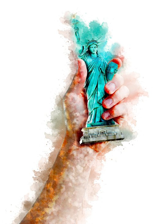watercolor  statue of liberty  hand