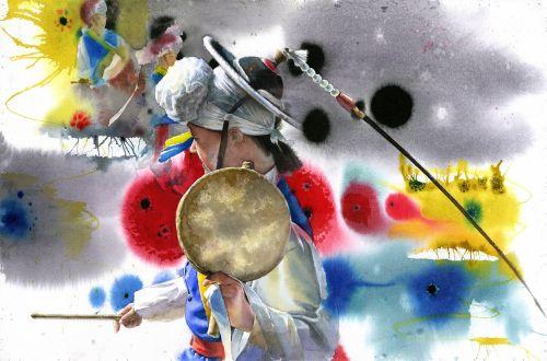 watercolor portrait korean man