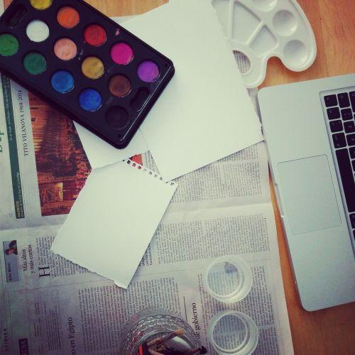 watercolors newspaper painting