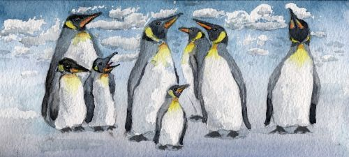 watercolour emperor penguins birds