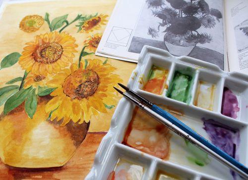 watercolour paint paint brush palette