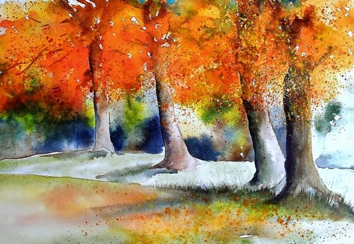 watercolour painting  autumn  painting