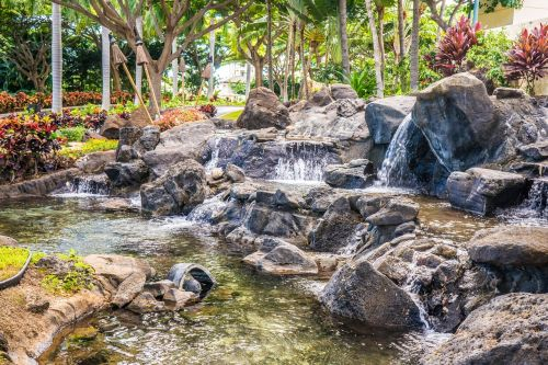 waterfall garden rocks