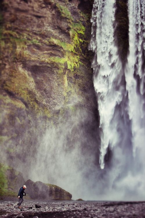 waterfall a person majestic