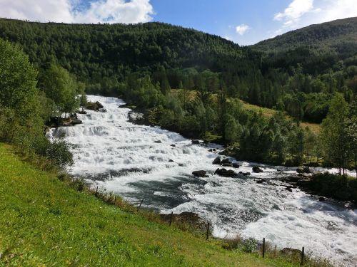 waterfall norway rock