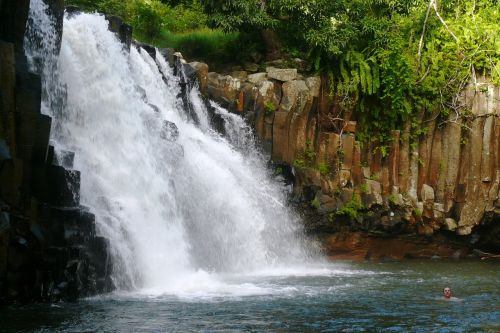waterfall mauritius tropics