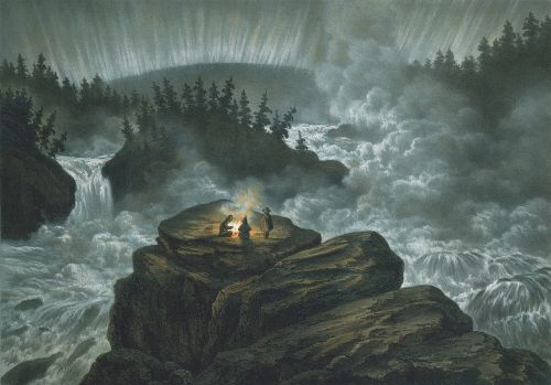 waterfall carl svante hallbeck lithograph