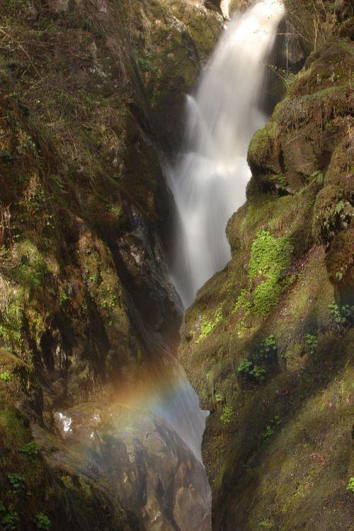 waterfall blurred rainbow