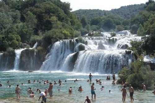 waterfall krka visitors