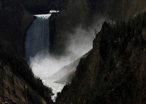 waterfall lower falls mist