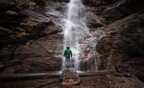 waterfall,flow,nature,rocks,landscape,hill,people,man,alone,outdoor,travel