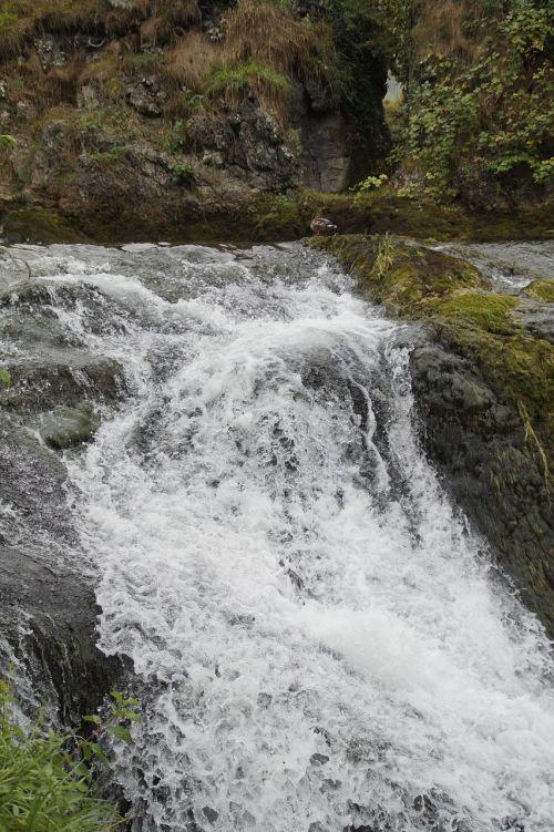 waterfall water foaming