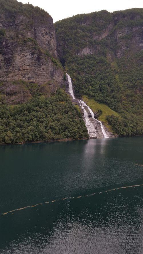 waterfall fjord norway