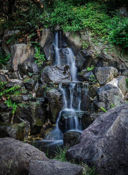 waterfall  japan  garden