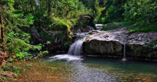 waterfall  stream  water