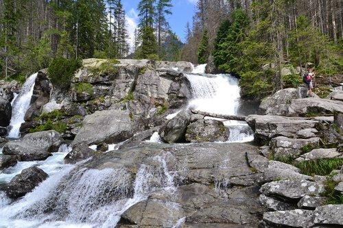 waterfall  stones  river
