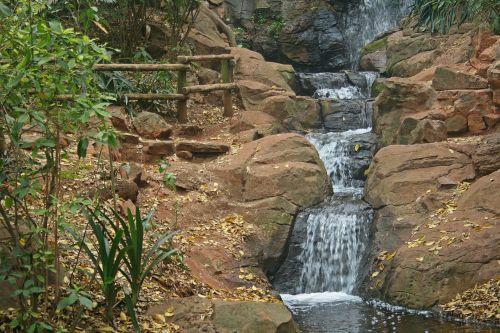 Waterfall Cascading Down Rocks