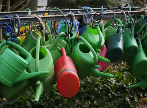 watering cans colorful irrigation