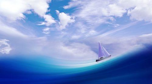 laivas,boot,banga,jūra,vanduo,buriu,dangus,debesys,menas,burinė valtis,ežeras,buriavimo kelionė,linijos,perspektyva,meniškai,mėlynas,skaitmeninis menas,skaitmeninis