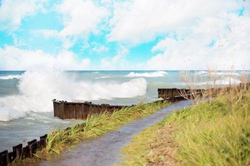waves crashing lake michigan michigan