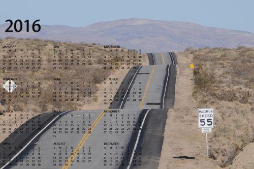 Wavy Desert Highway Calendar