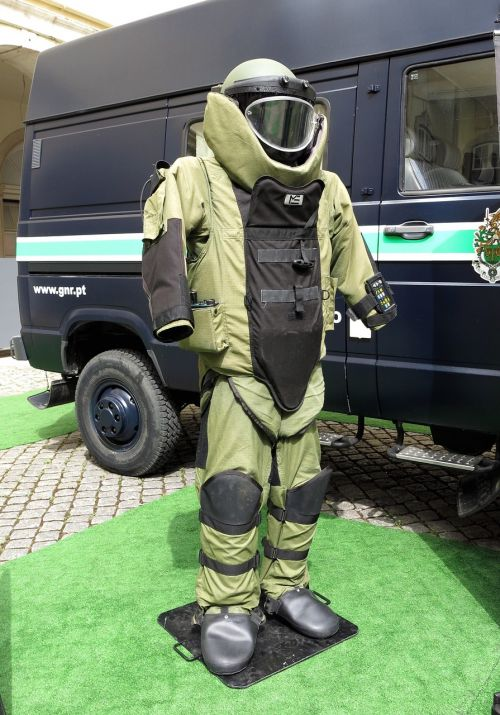wear protective clothing police explosive
