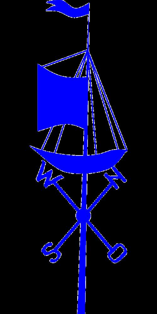 weather vane ship blue
