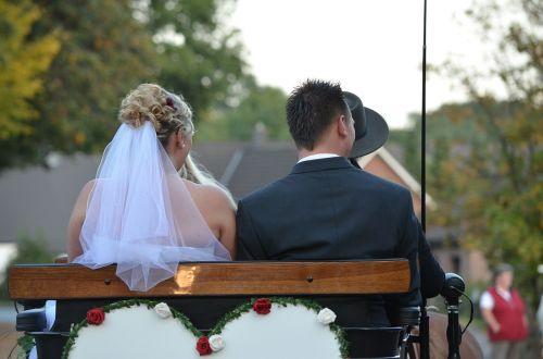 wedding bride and groom coach