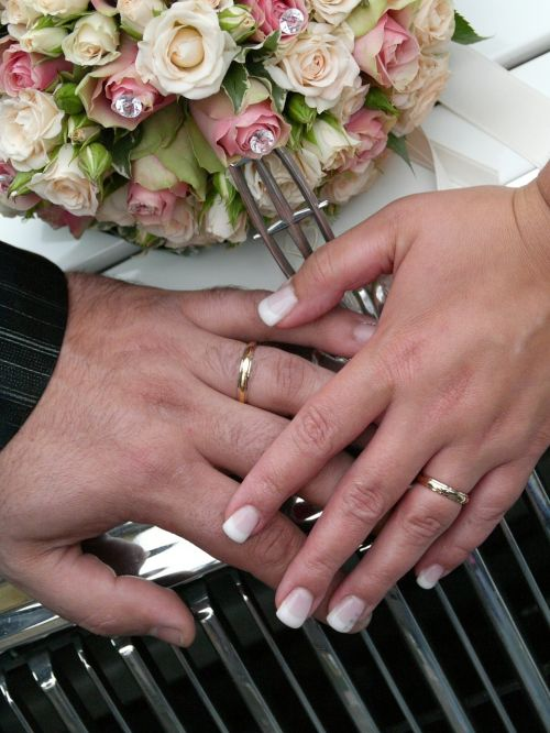 wedding bride and groom hand with wedding bands spouses