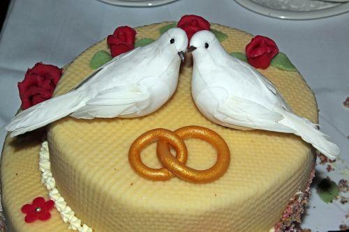 wedding cake pigeons rings