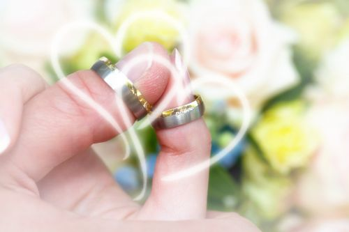 wedding rings roses background