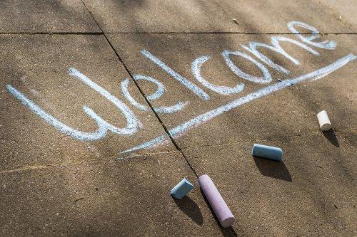 welcome  chalk  flashlights