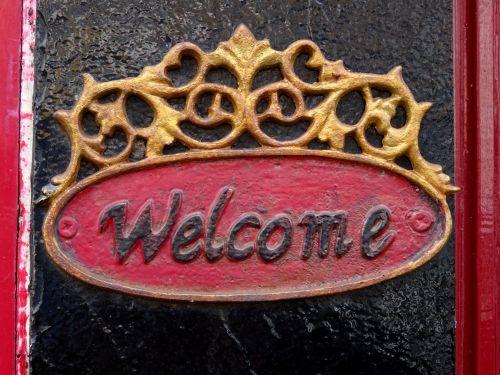 Welcome Plate On Doorway