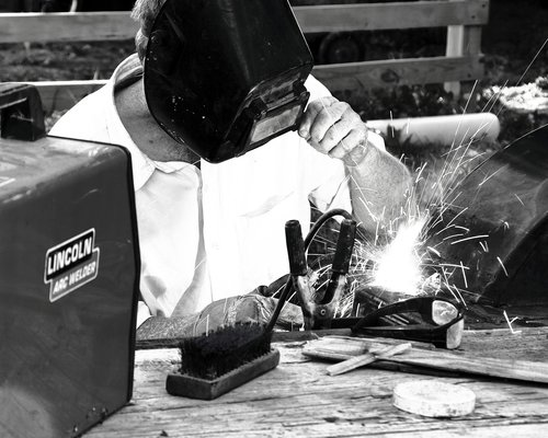 welder  welding  black and white