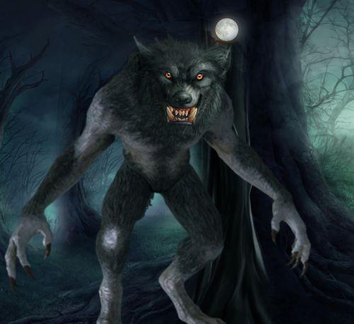 werewolf art full moon