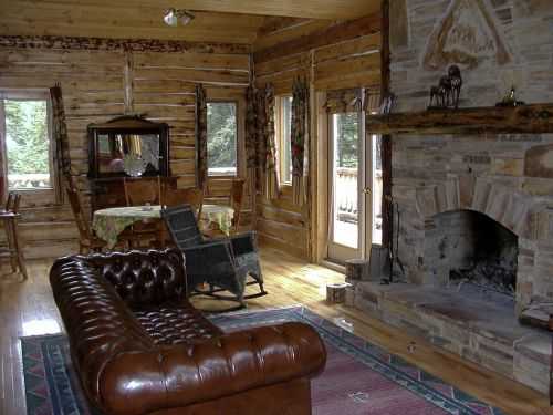 western country style fireplace