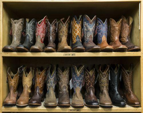 Western Cowboy Boots Displayed