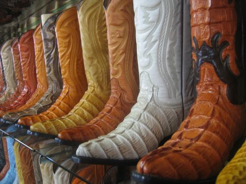 Western Cowboy Boots On Display