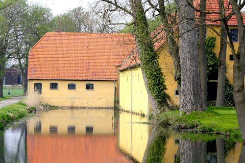 Westphalia,Vokietija,pastatas,lauke,lauke,kanalas,srautas,vanduo,atspindys,apmąstymai,medžiai,architektūra
