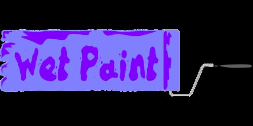 wet paint sign paint