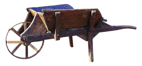 wheelbarrow old wooden cart
