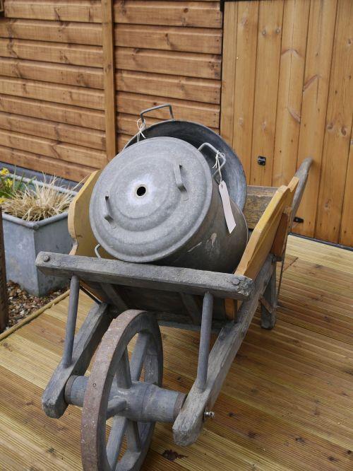 wheelbarrow zinc vintage