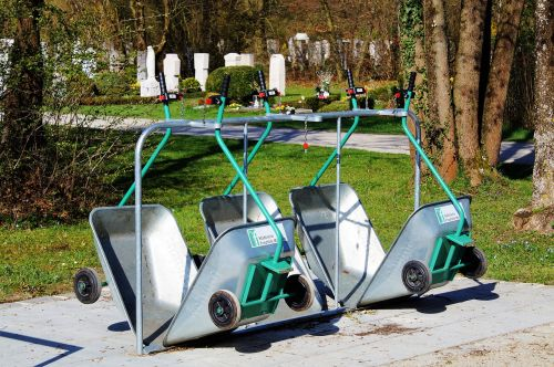 wheelbarrows gardener gardening equipment