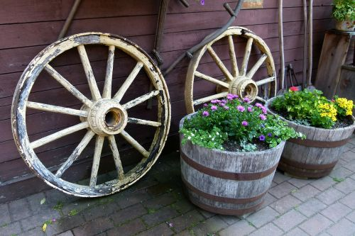 wheels cart wooden